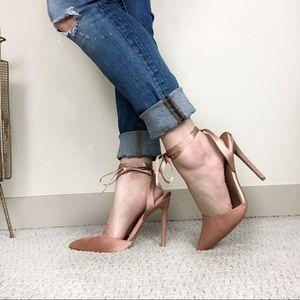 ASOS Pink Satin Ankle Tie Heels